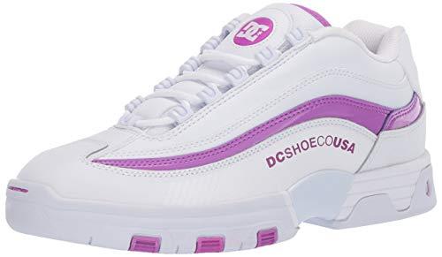 DC Women's Legacy LITE Skate Shoe, White/Purple, 5.5 B M US
