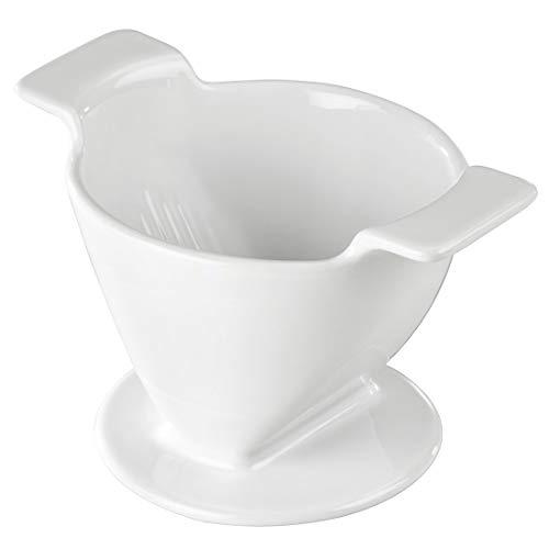 Xavax Porzellan Kaffeefilterhalter (Wiederverwendbarer Porzellanfilter, Filtertütenhalter für Kaffeefilter in Größe 4, Filteraufsatz zum Aufbrühen von Kaffee) weiß