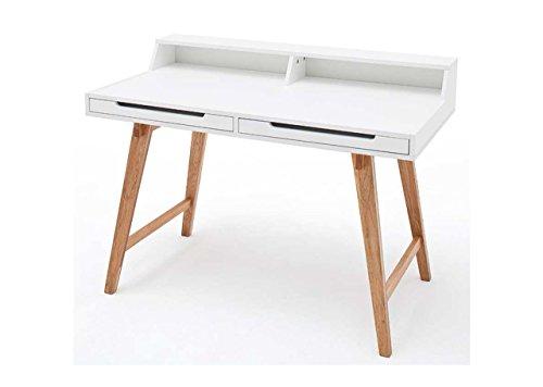 lifestyle4living Schreibtisch in Weiß, Tisch-Beine in Buche Massiv-Holz, 110 x 58 cm | Bürotisch mit Monitoraufsatz und 2 Schubladen im Scandi-Style
