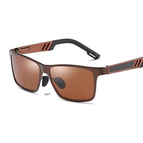 NJJX Gafas De Sol Polarizadas Negras Vintage Para Hombre, Gafas De Sol De Lujo Para Hombre Y Mujer, Espejo Colorido, Conducción Al Aire Libre, Marrón