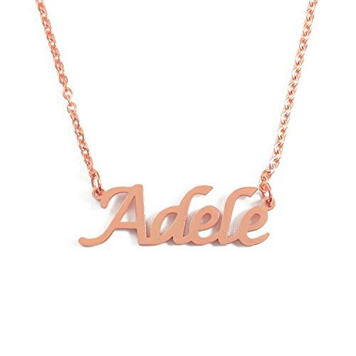 Kigu Adele Gepersonaliseerde Naam Ketting Verstelbare Ketting - 18ct Rose Goud vergulde Verpakking