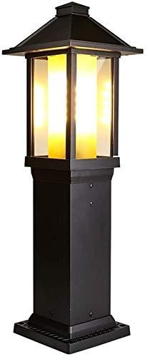 Luz de Poste Columna 60cm Antiguo luz al Aire Libre de América Lámpara Impermeable Antioxidantes de Aluminio Fundido Poste de luz Antiguo Europeo de Doble Capa de Cristal Pilar Luz de Arte del Hierro