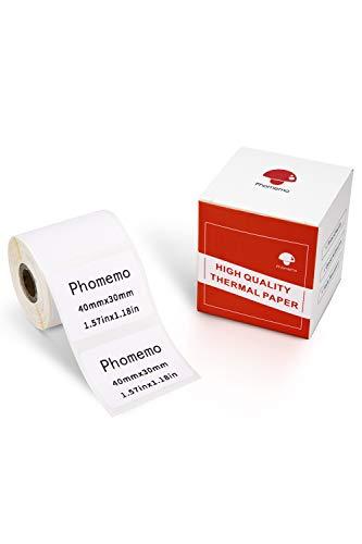 Phomemo Papel de etiquetas térmicas-etiqueta autoadhesiva multifunción, etiqueta de dirección 1.57 x1.18  (40x30mm), adecuada para la impresora de etiquetas Phomemo M110 M200, 230 etiquetas rollo