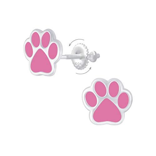 Laimons Pendientes infantiles con forma de huella de perro, 8 mm, color rosa, con cierre para girar,...