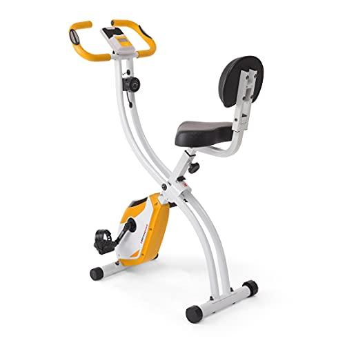 Ultrasport F-Bike 200B Bicicleta estática con sensores de pulso de mano, con respaldo, plegable, Color Naranja