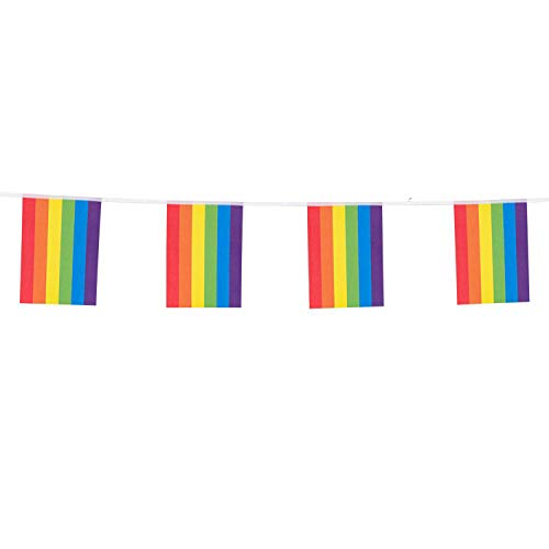 Boland 44734 – Rainbow Bunting Length 3 Metres Paper Flag Garland Decoration Carnival, Christopher Street Day, Party, Birthday
