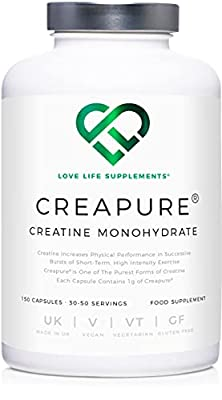 Creapure® Creatine Monohydrate Powder (in Capsule Form) by LLS   150 Capsules (1 Gram per Capsule)   30-50 Servings   Love Life Supplements - 'Clean, Effective, High Quality'