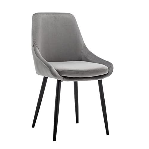 Oscar   Designer Esszimmerstuhl Küchenstuhl mit bequemer Sitzfläche, Schwarze Stuhlbeine   Grau   6 STK.
