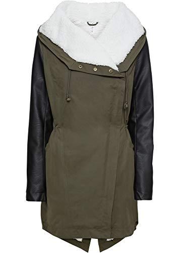 bonprix Außergewöhnlicher Parka-Mantel mit genialem Materialmix dunkeloliv/schwarz 42 für Damen