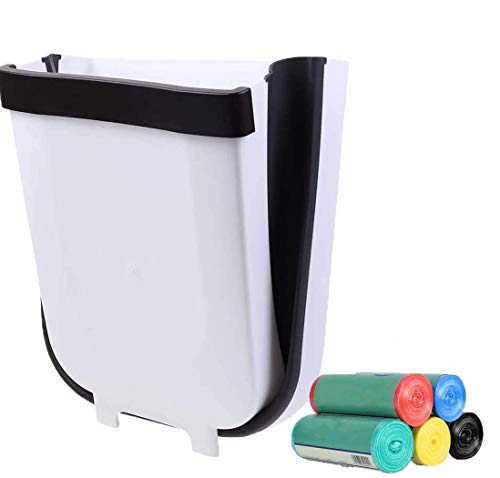 Hanging Wall Mounted Waste Bin with 5 Pcs Garbage Bags for Kitchen Bathroom,Silicone Folding Waste Bins Kitchen Foldable Trash CanOutdoor Creative Waste Bin for Dorm Room Drawer-9L/2.3Gallon (White)