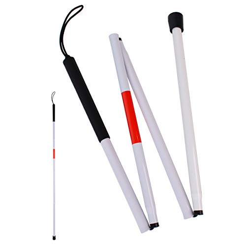 Bleiou Foldable Walking Cane Aluminum Reflective Folding Blind Cane Folding Walking Stick for Vision Impaired and Blind People