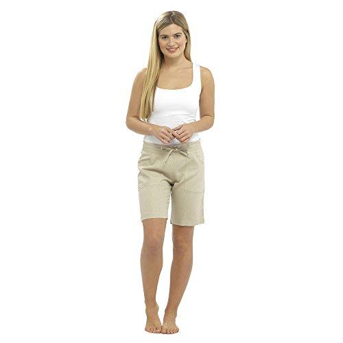 CityComfort Damen Leinen Freizeithosen Urlaub elastische Taille Damen Sommer Hosen Hosen Shorts beschnitten mit Taschen (40, Stein Shorts)