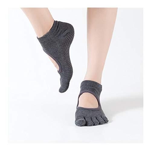 QWERBAM 1 par Antideslizante Yoga Mujeres Deporte Calcetines del Tobillo del Dedo del pie Agarre Duradero Coloridos Yoga Cinco Dedos Completa del algodón (Color : A Deep Grey)