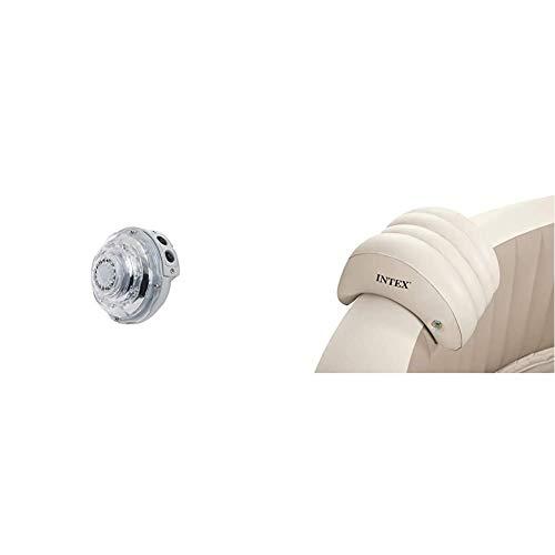 INTEX LED Beleuchtung PureSpa Jet & Kombi Modelle & PureSpa Whirlpoolzubehör - Aufblasbare Kopfstütze - 39 x 30 x 23 cm -Beige