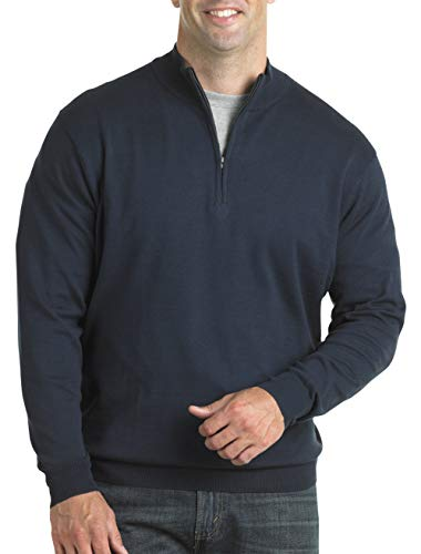 Harbor Bay by DXL Big and Tall Quarter-Zip Mock Sweater Navy