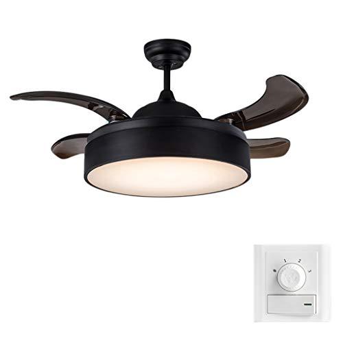 JYHW Ventilador de Techo Americano Moderno Minimalista Invisible Ventilador Hogar Sala de Estar Comedor Dormitorio Industrial Ventilador eléctrico Araña Negro 36 Pulgadas (Color : Wall Control)