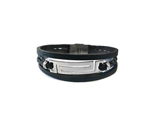 Pulsera SSK STYLE de Cuero stainless steel Premium para Hombre en Negro | Cierre de seguridad de Acero Inoxidable | Adaptable | Gran Idea de Regalo | Modelo Trenza Zigzag