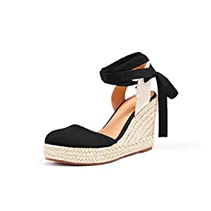 Nailyhome Womens Espadrille Wedge Sandals Closed Toe Platform Lace Up Ankle Wrap Slingback Sandals