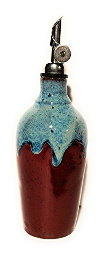 Hatfield Pottery Bottle In Red Firebrick With Blue Highlights