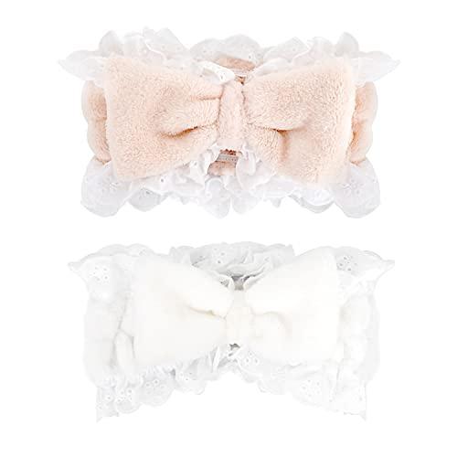 Cinta para el pelo para maquillaje, cinta para el pelo, cosmética, para mujer, cinta para el pelo, maquillaje (blanco y rosa)