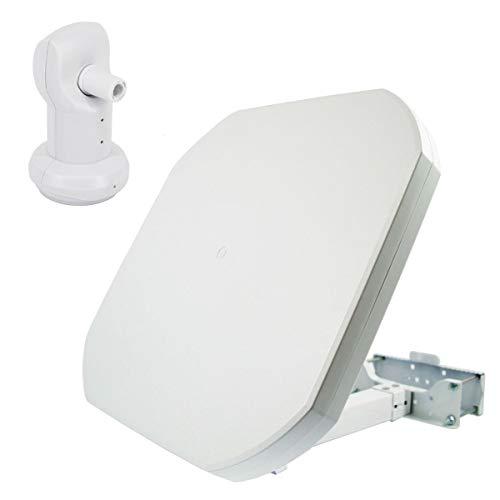 PremiumX FLAT43 Sat Flachantenne mit Single LNB - Satellitenantenne Digital Satellitenanlage für 1 Teilnehmer - 4K UHD FullHD HD
