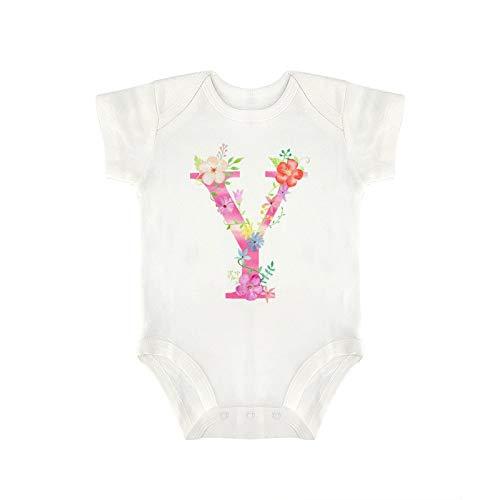 DKISEE Milu180 - Body de manga corta para bebé, diseño de flores de acuarela con letra Y algodón