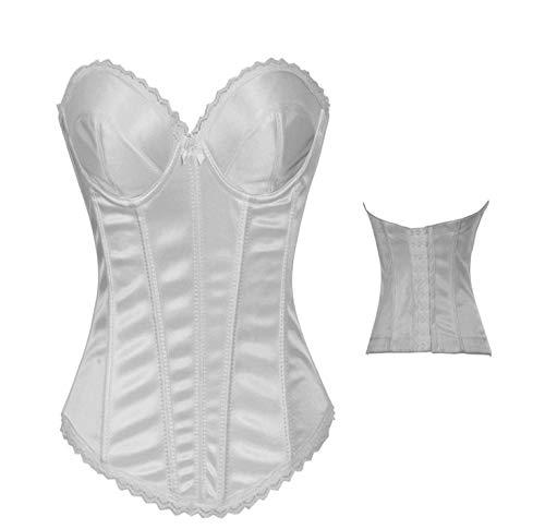 Fashion Palace Bodysuit Trägerloser Bauch Korsett Korsett Korsett Brokat weiß-XL