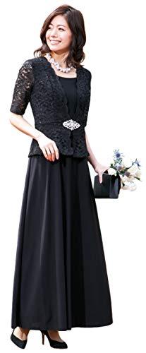 [アールズガウン]ロングドレス 結婚式 母親 親族 マザーズドレス ワンピース ドレス レディース ネイビー ブラック 大きいサイズ ジャケット 50代 60代 ミセス FD-180094 (4L, ブラック)