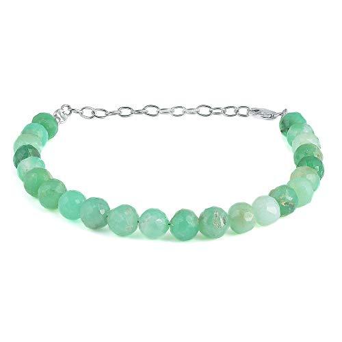 Auténtica pulsera de crisoprasa, pulsera de piedras naturales, pulsera de piedras preciosas verdes, pulsera de crisoprasa, regalo