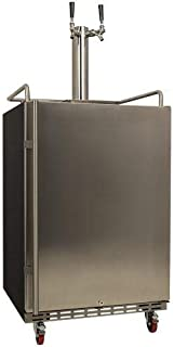 EdgeStar KC7000SSTWIN Full Size Dual Tap Tower Cooled Built-in Kegerator - Stainless Steel Black