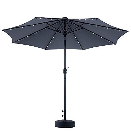 ombrellone da giardino con luci VONLUCE Ombrellone da Giardino 300 CM con Luci a LED Solari e Tettuccio Protettivo UV Ombrellone da Spiaggia con Manovella e Inclinazione