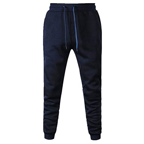N\P Pantalones deportivos de los hombres Pantalones deportivos casuales de color sólido para el ejercicio, azul, M