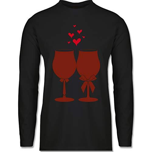 Shirtracer Symbole - Weingläser Wein - 3XL - Schwarz - BCTU005_Herren_Langarm - BCTU005 - Herren Langarmshirt