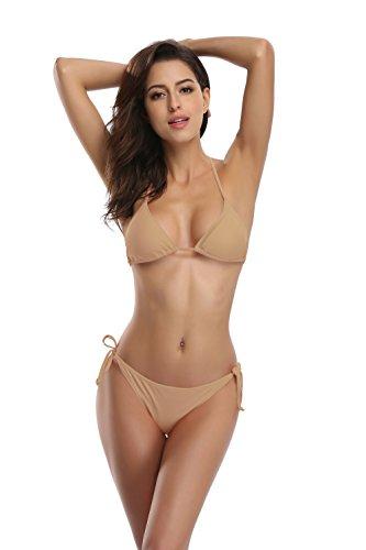 SHEKINI Women's Tie Side Bottom Push up Padded Top Triangle Bikini Bathing Suit (Medium, Loas tan)