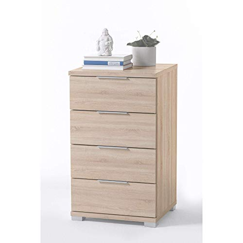 Universal Nachttisch in Eiche Sonoma Optik - Moderner Nachtschrank mit vier Schubladen für Ihr Boxspringbett - 46 x 79 x 42 cm (B/H/T)