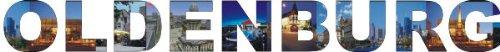 PEMA INDIGOS UG - Wandtattoo Wandsticker Wandaufkleber - Aufkleber farbige Wandschrift Städtename Städtename Oldenburg mit Sehenswürdigkeiten 120 x 13 cm Länge