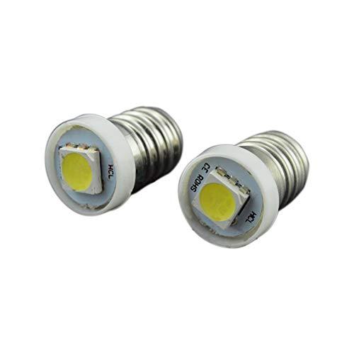 Ruiandsion 10x E10 LED ampoules Blanc 0.5W DC 12V 5050 1SMD Chipsets LED ampoules pour lampe de poche torche lumière intérieure tableau de bord Indicatior lumière tableau de bord lampe instrument