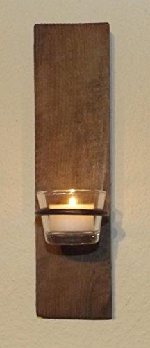 Dallaknaller Wandkerzenhalter H1010 altes Holz verwittert mit Teelichtglas und Teelicht