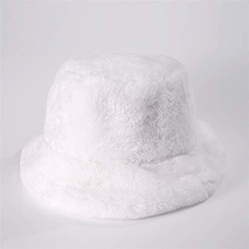 A-YSJ Bucket Hat Hat Winter Bucket Hat Women Thick Warm Faux Fur Plush Basin Hat Outdoor Fisherman Hat (Color : Lavender)