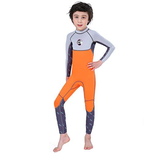 OHQ Immersione per Bambini Tuta da Sub 2,6 mm Tuta Traspirante da Surf Caldo Medusa Anti-UV Tuta da Nuoto Invernale per pagaia Sport Canottaggio e giornate in Spiaggia (Arancione, L)