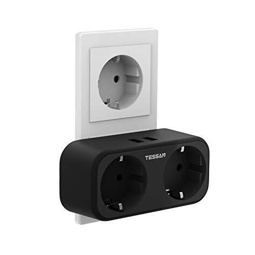TESSAN USB Steckdose, 2 Steckdosen mit 2 USB Anschluss, 4 in 1 Steckdosenadapter mit USB Ladegerät, Doppelstecker mit Intelligent USB Stecker Kompatibel für iPhone Phone Laptop, Schwarz