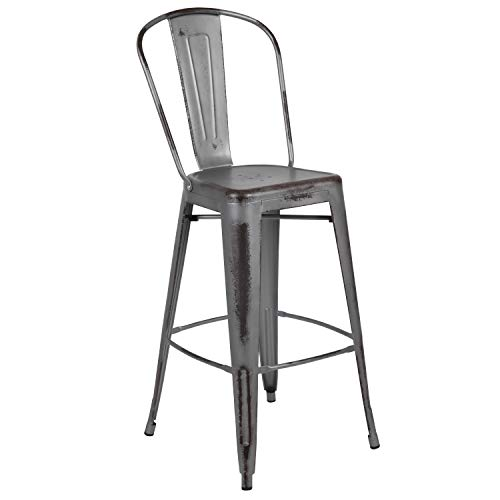 Flash Furniture 30' High Distressed Silver Gray Metal Indoor-Outdoor Barstool with Back