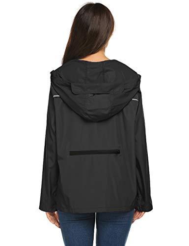 Avoogue Rain Jacket Women Lightweight Packable,Rain Coats for Women Waterproof with Hood Packable Black