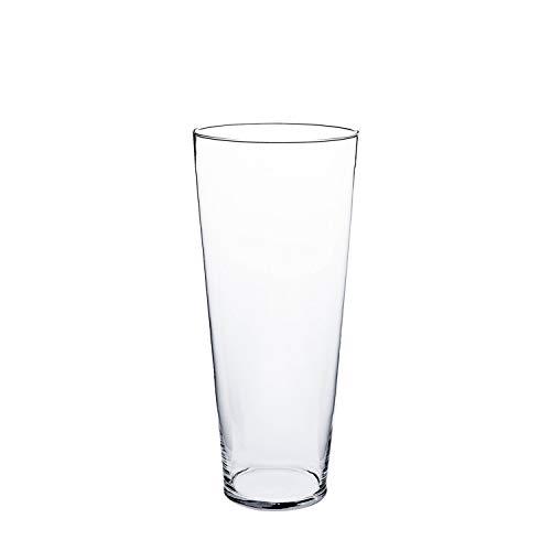 INNA-Glas Konische Glas Vase Conny, transparent, 50cm, Ø 17cm - Deko Blumenvase - Vase aus Glas