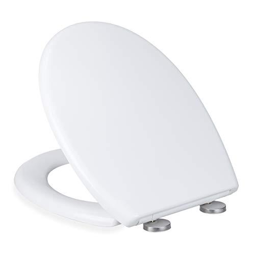 Relaxdays Toilettendeckel mit Absenkautomatik, WC Sitz oval, leicht abnehmbar, Klobrille Duroplast, BxT 37 x 45 cm, weiß