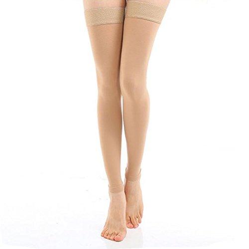 TININNA Medias de compresión médico Clase (20-30mmHg) ,De las mujeres muslo-alta compresión calcetines abierta del Footless del pie calcetines adelgazar las medias de compresión,alivio de dolores, recuperación más rápida,Ultra-Delgada Elástico Transpirable Muslo que Adelgaza los Calcetines de Compresión de la Pierna Masaje Modelador(Desnudo XL)