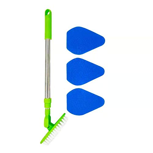 Floor Scrub Brush with Long Handle,2 in 1 Cleaning Brush Tub and Tile Scrubber Brush Sponge with 35'' 180°Adjustable Stainless Metal Handle Scrub Brush for Cleaning Bathtub Shower Bathroom.