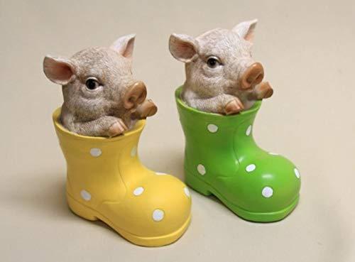 Vamundo Zwei niedliche Deko Schweine in Gummistiefel 2er Set # Ferkel # wetterfest