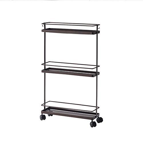 ZGQA-GQA Kitchen Shelf FloorStanding Kitchen Racks Metal ThreeTier Spice Rack Mobile Trolley 38 * 12 * 66CM