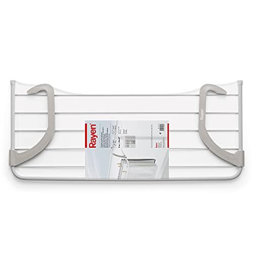 Rayen Balcones | 5 m de Superficie de tendido | Tendedero para pequeñas coladas | para Interior y Exterior | Dimensiones: 81 x 37,5 x 15 cm, Acero Pintado, ABS, Blanco y Gris, 81 x 37.5 x 15 cm